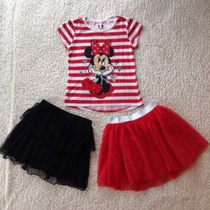 2-piece Disney outfit + black skirt, size 6x
